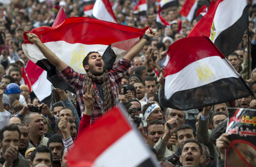 Egyptian protests during the Arab Spring that eventually led to the overthrow of the Egyptian government.