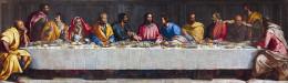 Last Supper, oil on canvas painting by Alessandro Allori (1535-1607), location: Palazzo della Regime, Bergamo