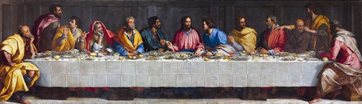 Last Supper, oil on canvas painting by Alessandro Allori (1535-1607), location: Palazzo della Regime, Bergamo