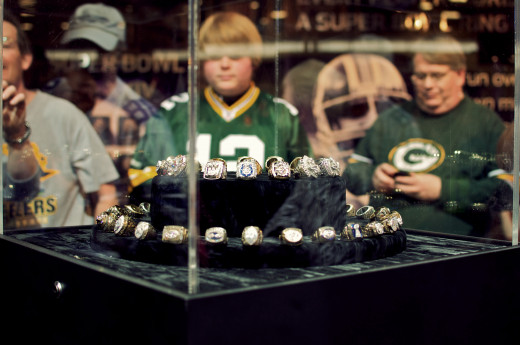 A display of Super Bowl rings at The NFL Experience for Super Bowl XLV in Dallas, Texas.