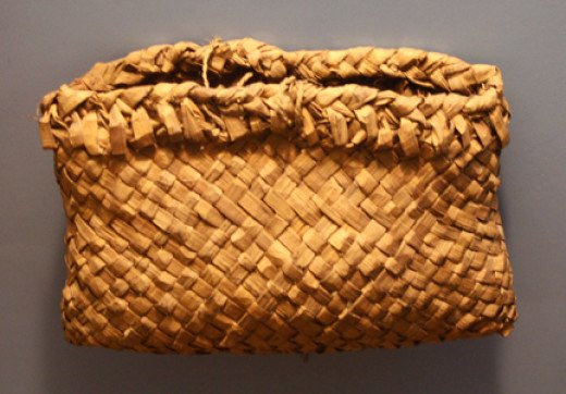 Ojibwe pouch for gathering wild rice.