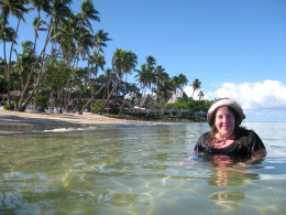 Swimming in the lagoon. There are lots of fish that swim around you and the water is crystal clear (great for viewing the fish!). Perfect sand and no rocks.