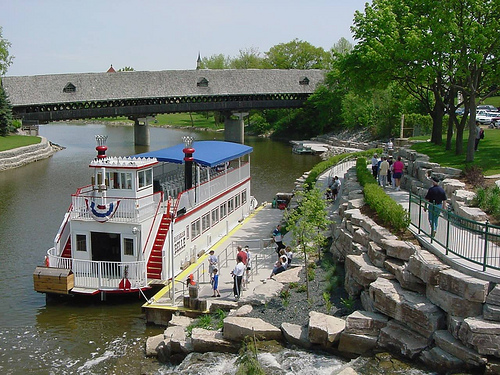 Beneath the River Place Shops, which includes a large $1.00 store as well as high end shops, a River Boat Ride takes visitors several miles up and back on the Saginaw River.