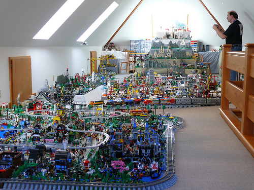 Bay Area LEGO Users' Group has held meetings in Woodside CA for several years. New sections are added to this display every year. Notice the railroad tracks.