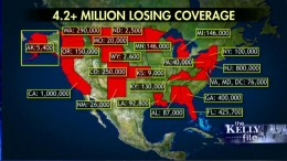 Initial map disclosing states where individuals have lost their health insurance due to Obamacare. The number is rising.