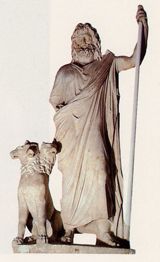 The King of Underworld, god Hades with the guard three headed dog Cerebus.