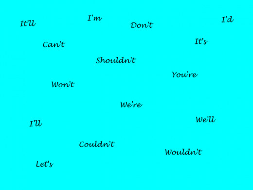 Some commonly contracted words