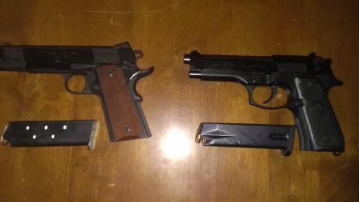 Springfield M1911 and Beretta M9
