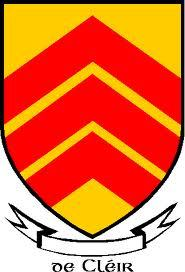 De Cleir or de Clare arms, three inverted red  chevrons against a yellow or gold background