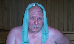 Your Author Enjoying the Finnish Steam Bath