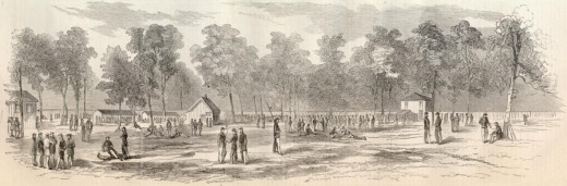 A woodcut engraving of Camp Morton, Indiana