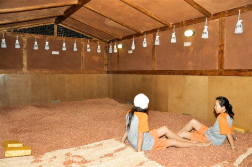 The clay room.  These little balls of clay are nice and warm.  It is said to draw out impurities from the skin.