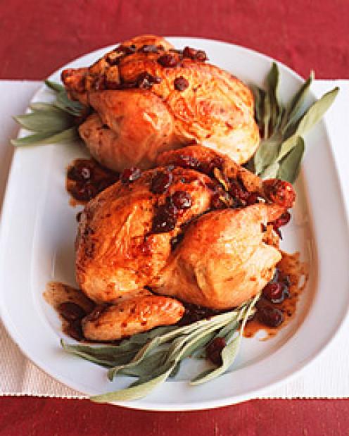Roasted Cornish hens.