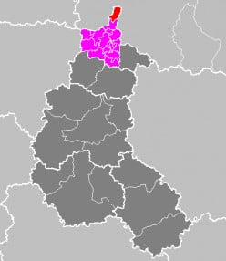 Map location of the Canton of Givet