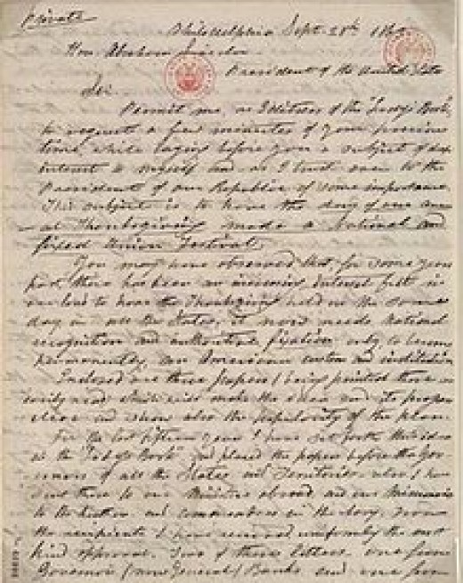 1863 Letter from Hale to Lincoln Discussing Thanksgiving