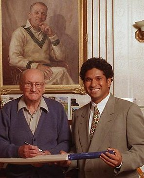 Sachin Tendulkar with Sir. Donald Bradman, the greatest batsman in the history of the game.