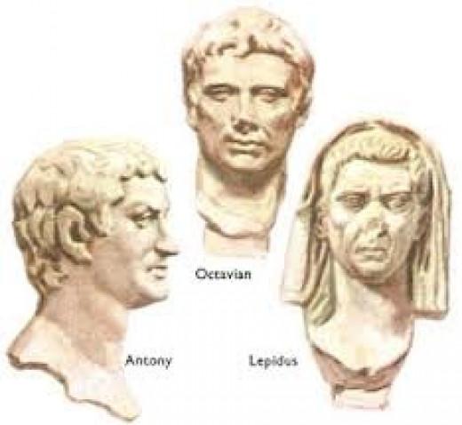 Antony, Octavian and Lepidus captured in stone.