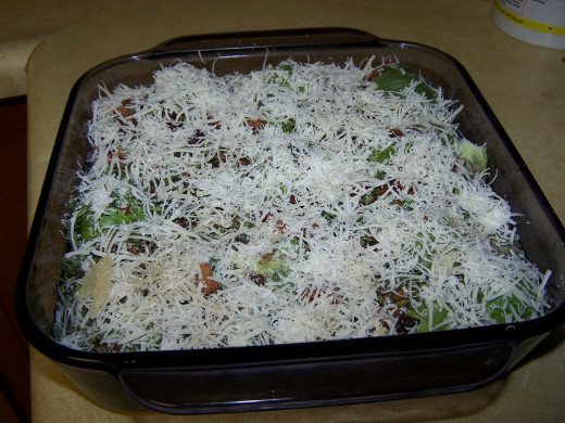 This photo shows the sprouts and all the ingredients ready to be baked.