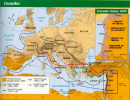 This map shows the basic course of the major Crusades.