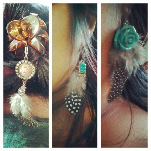 Hair Charms With Feathers and Earrings With Feathers