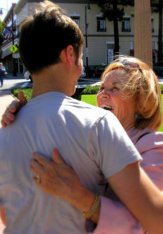 Nana greets a grandson