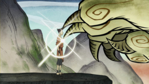 Wan, the first avatar, being granted the power of firebending