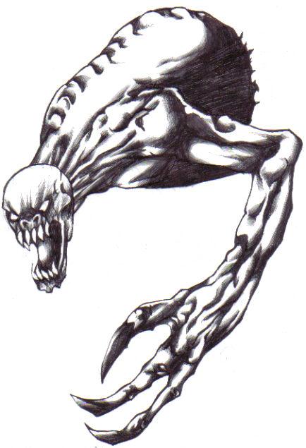 Dark Creature drawn in black bic biro pen.