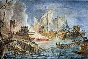 A painting depicting the naval engagement during the Battle of Actium in 31 BC.