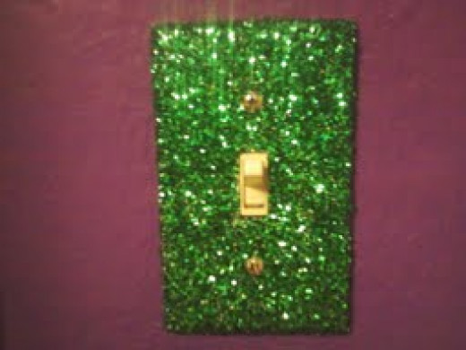 The completed glitter switch plate up on the wall!
