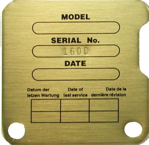 Model and Serial Plate with Blank Spaces