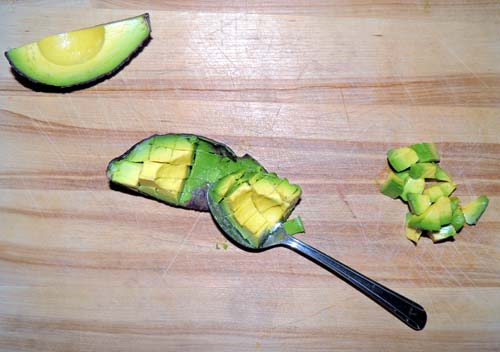 Dice the avo small, and remove