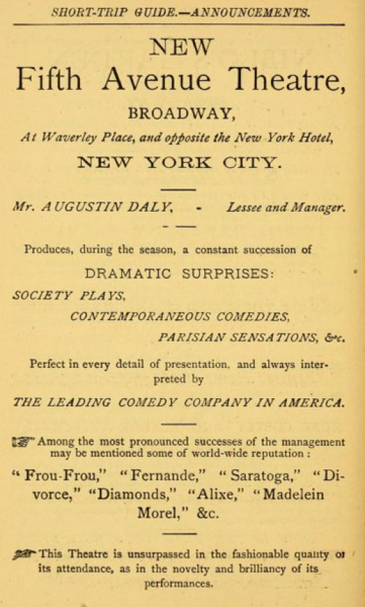 Broadway theatre advertisement from 1873