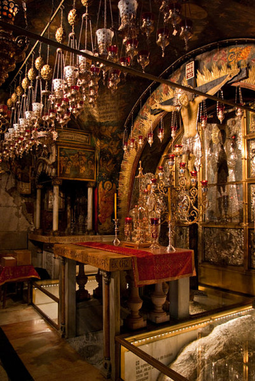Altar of the Crucifixion in the Church of the Holy Sepulchre