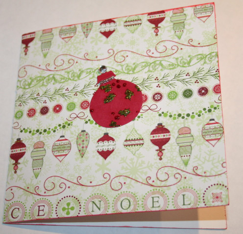 A completed 6 x 6 Christmas card.