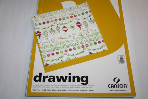 Scrapbook cardstock 12 x 12, folded and cut in to a 6 x 6 card, folded. Drawing paper for inner lining of card.