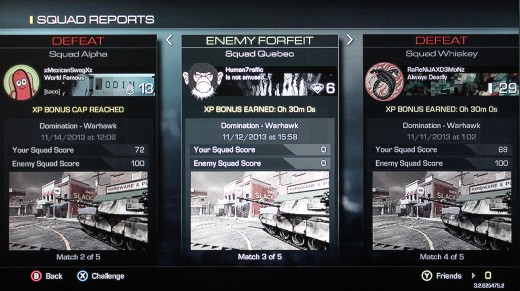 The Squads Report screen will show how your squad fared against other teams who challenged you while you were offline
