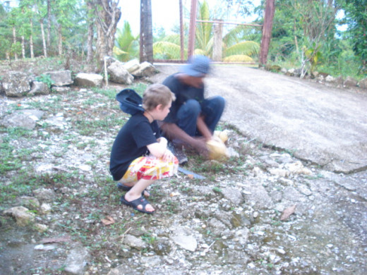 My son learning how to cut a coconut with a machete in Livingston, Guatemala.  Fresh coconuts contain amazing coconut water, full of minerals and vitamins.
