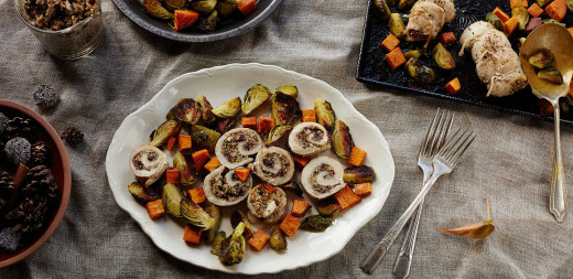 Quinoa-Stuffed Turkey with Roasted Autumn Vegetables