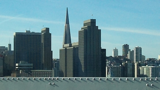 View from the Bay Bridge, San Francisco.. while driving in my new Scion.