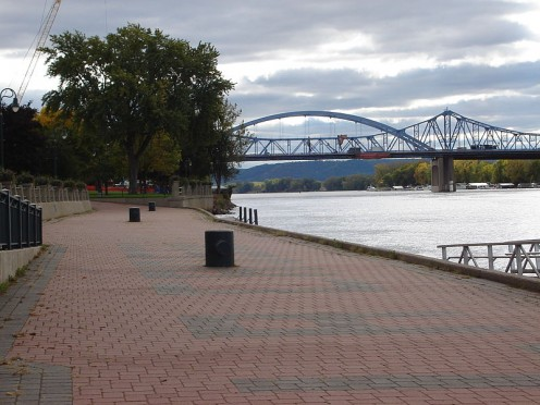 The Cass Street and Cameronn Street Bridges in Downtown La Crosse, spanning the Mississippi River.