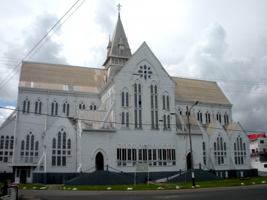 Exterior of the historic cathedral of St George's in Georgetown, Guyana