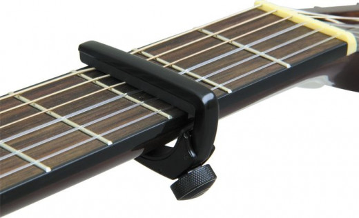 Guitar capo applied to freatboard