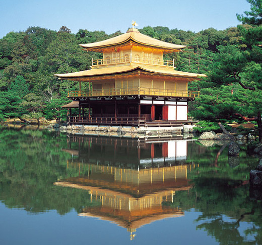 Temple of the Golden Pavilion in Kyoto, Japan, 1399 on a man-made lake (Ashikaga Yoshimitsu Information).