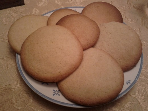 Sugar cookies, baked and cut into simple rounds.