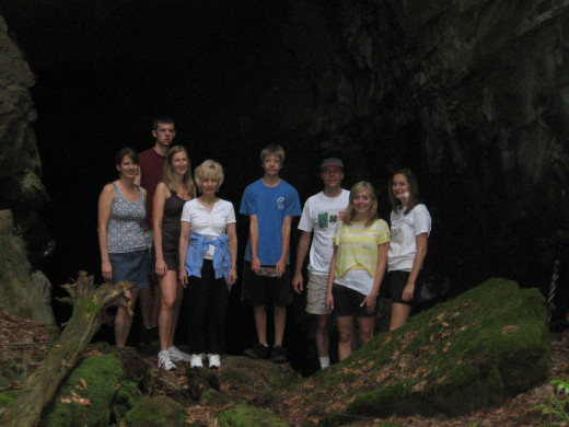 Some of my family in front of a cave opening in Tillson.