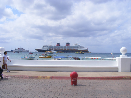 A Disney cruise ship docked in San Miguel, Cozumel. Almost one million cruise ship passengers sail through Cozumel, Mexico each year.