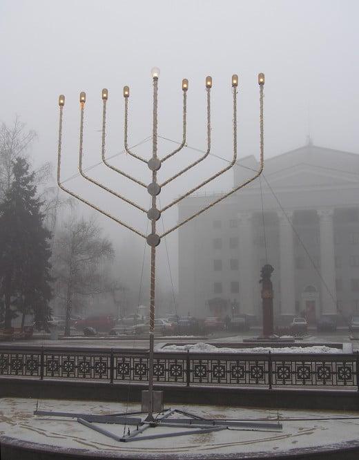 A public Hanukkah menorah in Donetsk, Ukraine.