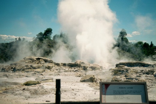 Looking out over Pohuto Geyser and Geyser Flat, Whakarewarewa, Rotorua, New Zealand. This file is licensed under the Creative Commons Attribution 2.5 Generic License