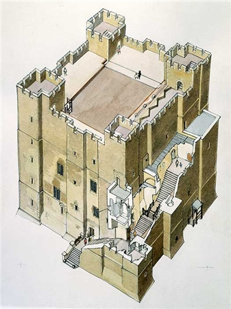 Norman castle keep cross-section - there was a 'standard' castle design of sorts that builders conformed to. At first built of wood, within the first few years of William's coronation the material of choice for castle construction was stone.