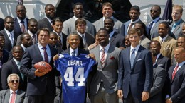 Each year it is tradition for the Super Bowl champions to meet with the U.S President.  Here, President Obama congratulates the New York Giants.